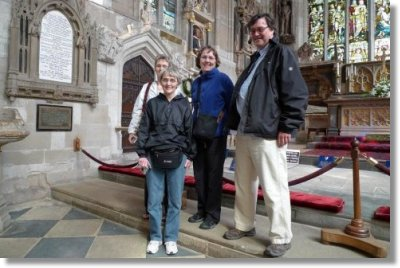 Keenan sisters with Peter West at Shakespeare's Grave see testimonial below