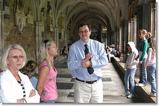 Peter West explains the Abbey cloisters
