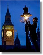 Lighting a London gas lamp